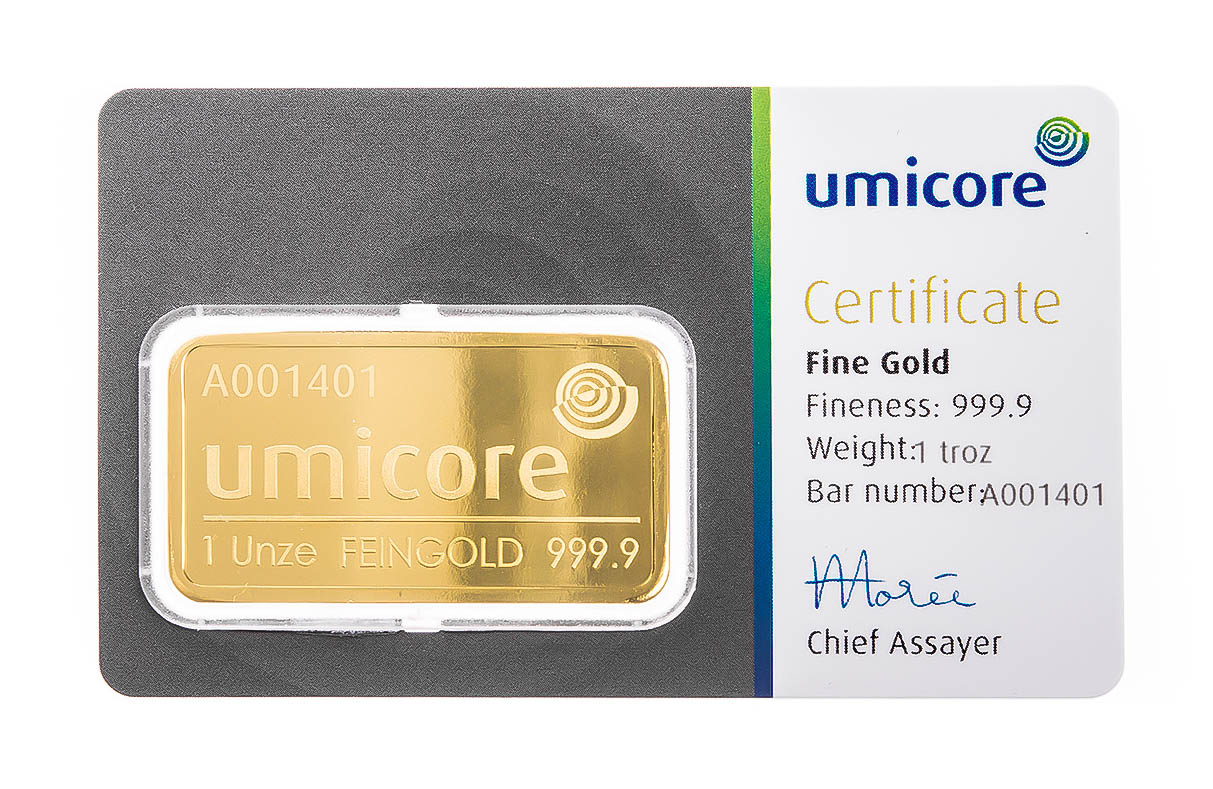 Umicore 1oz Gold Bullion Bar Nottingham Bullion
